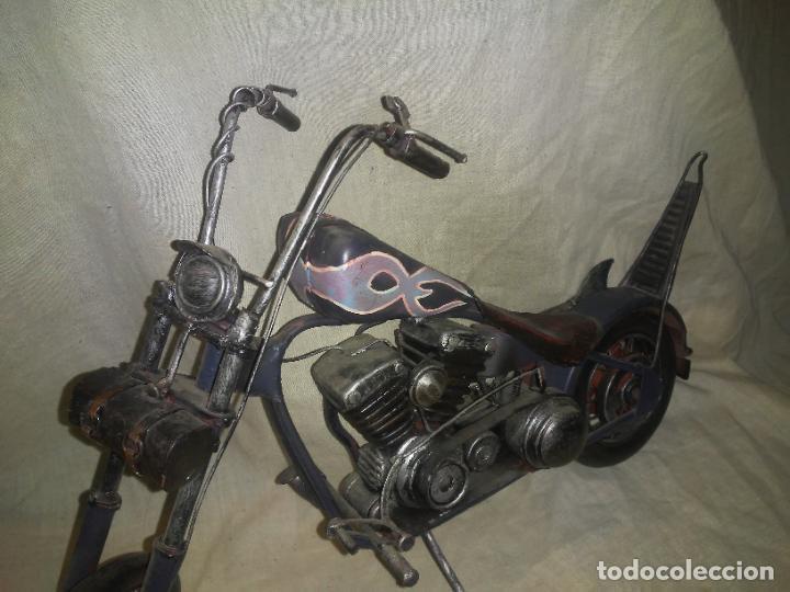 Motos a escala: EXCEPCIONAL HARLEY DAVIDSON CHOPPER METALICA A ESCALA - GRAN FORMATO. - Foto 3 - 243422005