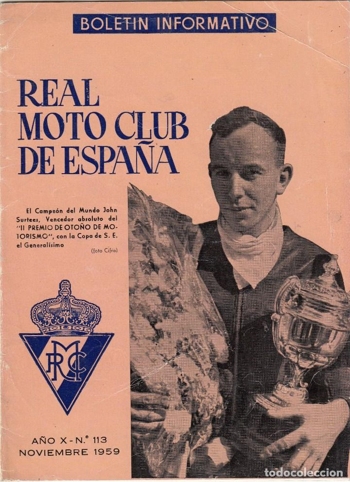REVISTA REAL MOTO CLUB DE ESPAÑA Nº 116 AÑO 1959. (Coches y Motocicletas - Motocicletas Antiguas (hasta 1.939))