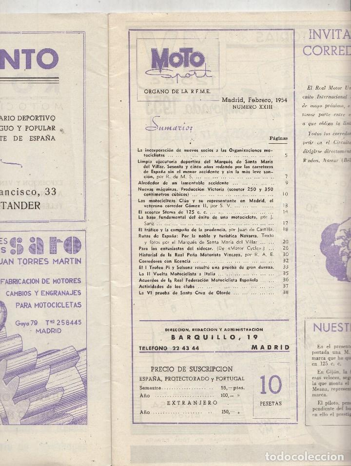 Motos: REVISTA MOTO SPORT Nº 23 AÑO 1954. - Foto 2 - 81131948