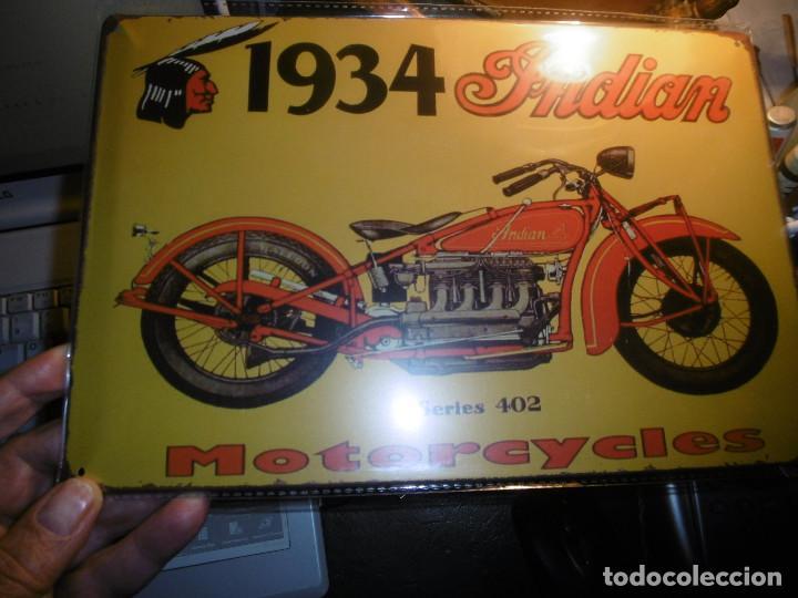 Motos: MUY BONITA CHAPA MOTOCICLETA INDIAN - Foto 2 - 101926539