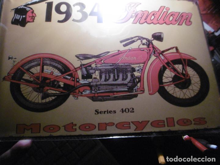 Motos: MUY BONITA CHAPA MOTOCICLETA INDIAN - Foto 3 - 101926539