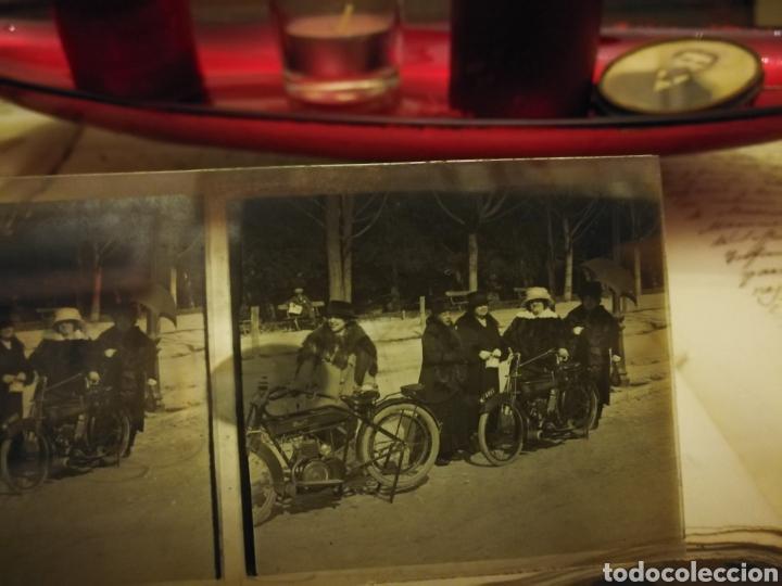 FOTOGRAFIA ESTEREOSCOPICA DE MOSTOS DE LOS AÑOS 20-30 EN CRISTAL (Coches y Motocicletas - Motocicletas Antiguas (hasta 1.939))