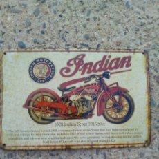 Motos: CARTEL ANTIGUO DE MOTO INDIAN SCOUT.. Lote 133101666