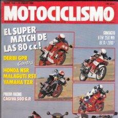 Motos: REVISTA MOTOCICLISMO Nº 1144 AÑO 1990.COM:DERBI GPR 75,HONDA NSR 75 II,YAMAHA TZR 80 Y RIEJU RST 80.. Lote 151827622
