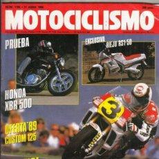 Motos: REVISTA MOTOCICLISMO Nº 1105 AÑO 1989. PRUEBA: HONDA XBR 500. . Lote 151845270