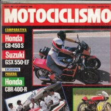 Motos: REVISTA MOTOCICLISMO Nº 967 AÑO 1986. PRU: HONDA CBR 400 R.COMP: HONDA CB 450 S Y SUZUKI GSX 550 EF.. Lote 151848522