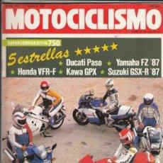 Motos: REVISTA MOTOCICLISMO Nº 996 AÑO 1987. COMPARATIVA: HONDA VFR 750 F,DUCATI PASO 750,KAWASAKI GPX 750,. Lote 151851022