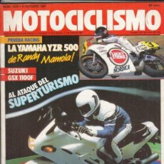Motos: REVISTA MOTOCICLISMO Nº 1021 AÑO1987. PRU: SUZUKI GSX 1100 F. RACING: YAMAHA YZR 500 C LUCKY STRIKE.. Lote 151852202