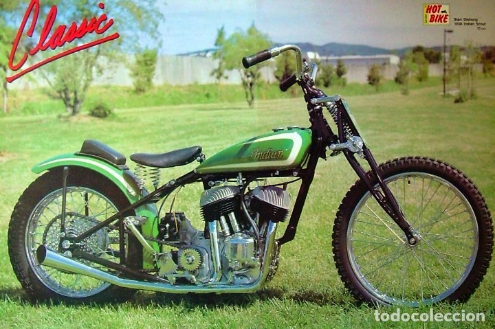 PÓSTER MOTOCICLETA CLÁSICA - 1938 INDIAN SCOUT (53 X 78 CM) (Coches y Motocicletas - Motocicletas Antiguas (hasta 1.939))