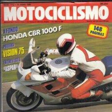 Motos: REVISTA MOTOCICLISMO Nº 1112 AÑO1989. PRU: HONDA CBR 1000 F.APRILIA TUAREG WIND 125.HONDA VISION 75.. Lote 167572496