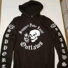Motos: SUPPORT YOUR LOCAL OUTLAWS MOTORCYCLE CLUB BIKER LONG SLEEVE HOODED SHIRT. Lote 228671230