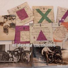 Motos: MOTOCICLETA MONET GOYON. LOTE 3 FOTOS Y DIVERSOS PERMISOS CIRCULACION. AÑOS 1930S. Lote 253277310