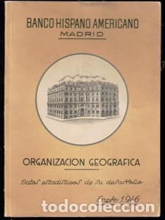 BANCO HISPANO AMERICANO. ORGANIZACIÓN GEOGRÁFICA. ENERO 1946 (Coches y Motocicletas - Motocicletas Antiguas (hasta 1.939))