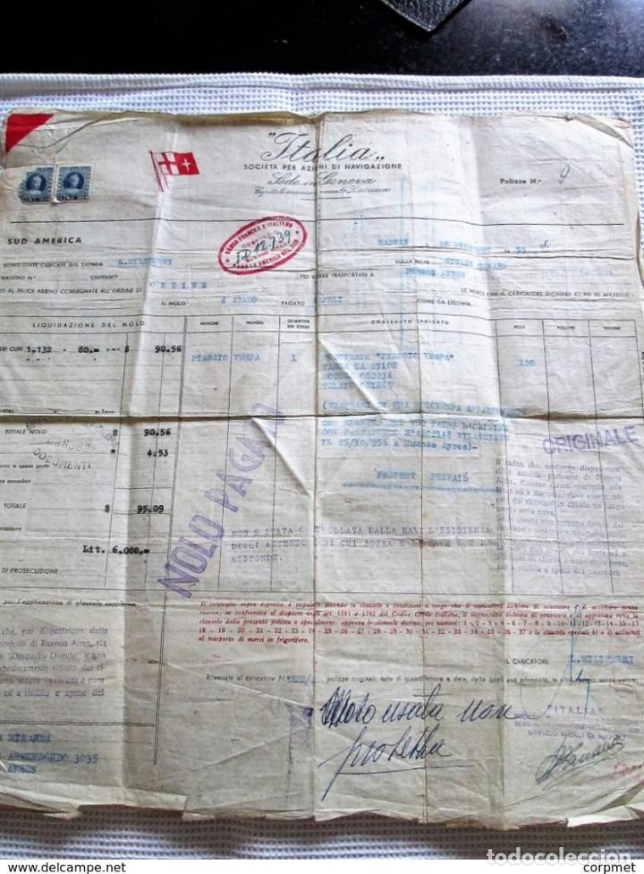 Motos: MOTOCICLO VESPA 1959 PASAJE MARITIMO DE TRANSPORTE - NAPOLES a BUENOS AIRES - PORTA PASAJE DE PIEL - Foto 3 - 283182143