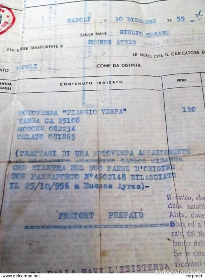 Motos: MOTOCICLO VESPA 1959 PASAJE MARITIMO DE TRANSPORTE - NAPOLES a BUENOS AIRES - PORTA PASAJE DE PIEL - Foto 5 - 283182143