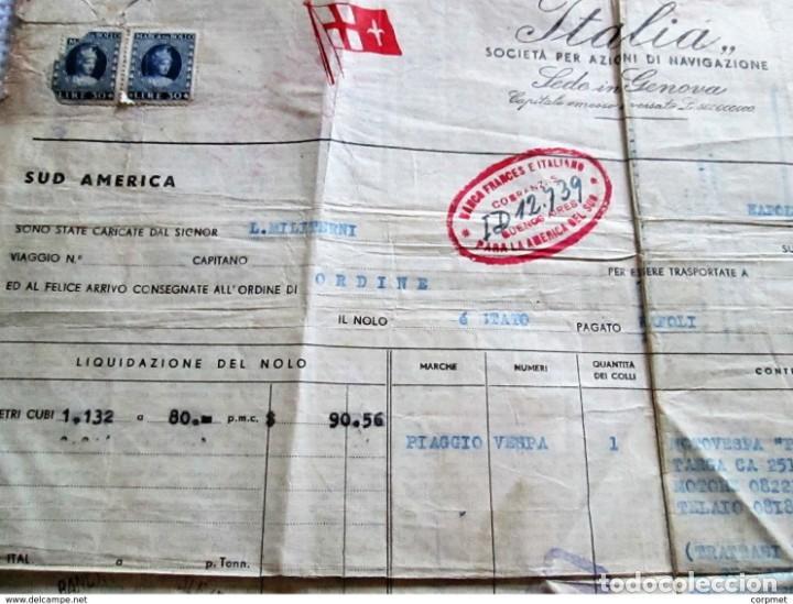 Motos: MOTOCICLO VESPA 1959 PASAJE MARITIMO DE TRANSPORTE - NAPOLES a BUENOS AIRES - PORTA PASAJE DE PIEL - Foto 6 - 283182143