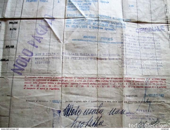 Motos: MOTOCICLO VESPA 1959 PASAJE MARITIMO DE TRANSPORTE - NAPOLES a BUENOS AIRES - PORTA PASAJE DE PIEL - Foto 7 - 283182143