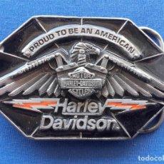 Motos: HEBILLA HARLEY DAVIDSON 1990 PLOMO MADE IN USA. Lote 106029323