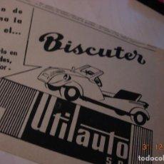 Motos: BISCUTER DISTRIBUIDOR UTILAUTO ANUNCIO PUBLICIDAD ORIGINAL 1956 RARO. Lote 109526019