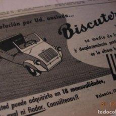 Motos: BISCUTER DISTRIBUIDOR UTILAUTO ANUNCIO PUBLICIDAD ORIGINAL 1956 RARO. Lote 109526079