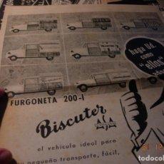 Motos: BISCUTER FURGONETA 200-I ANUNCIO PUBLICIDAD ORIGINAL 1959 A TODA PAGINA. Lote 109526183