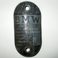 Motos: CHAPA DE IDENTIFICACIÓN DE MOTO BMW R75M DEL ÁFRICA KORPS DE 1943.. Lote 112309883
