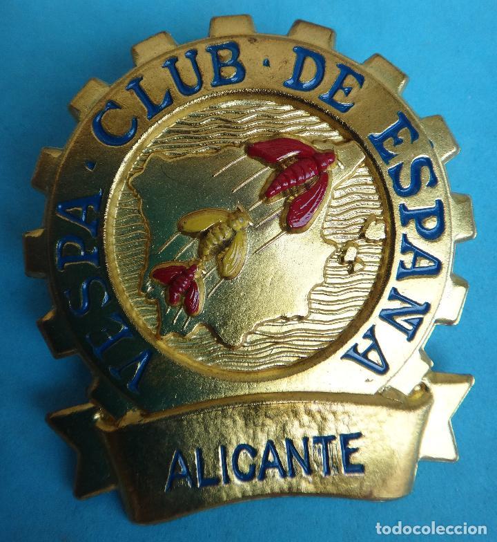 CHAPA PUBLICIDAD MOTO VESPA , CLUB DE ESPAÑA , ALICANTE , RESERVADA AEROGABI , C4 (Coches y Motocicletas - Motocicletas Clásicas (a partir 1.940))