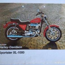 Motos: CARTEL PUBLICIDAD HARLEY DAVISON SPORTSTER XL-100.. Lote 152223486