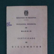 Motos: CERTIFICADO DE CICLOMOTOR VESPINO GL 1975. Lote 160350298