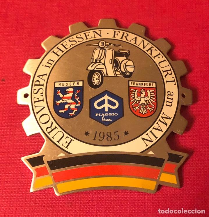 Motos: Publicidad; placa de Vespa Alemania. Frankfurt. - Foto 2 - 193971290