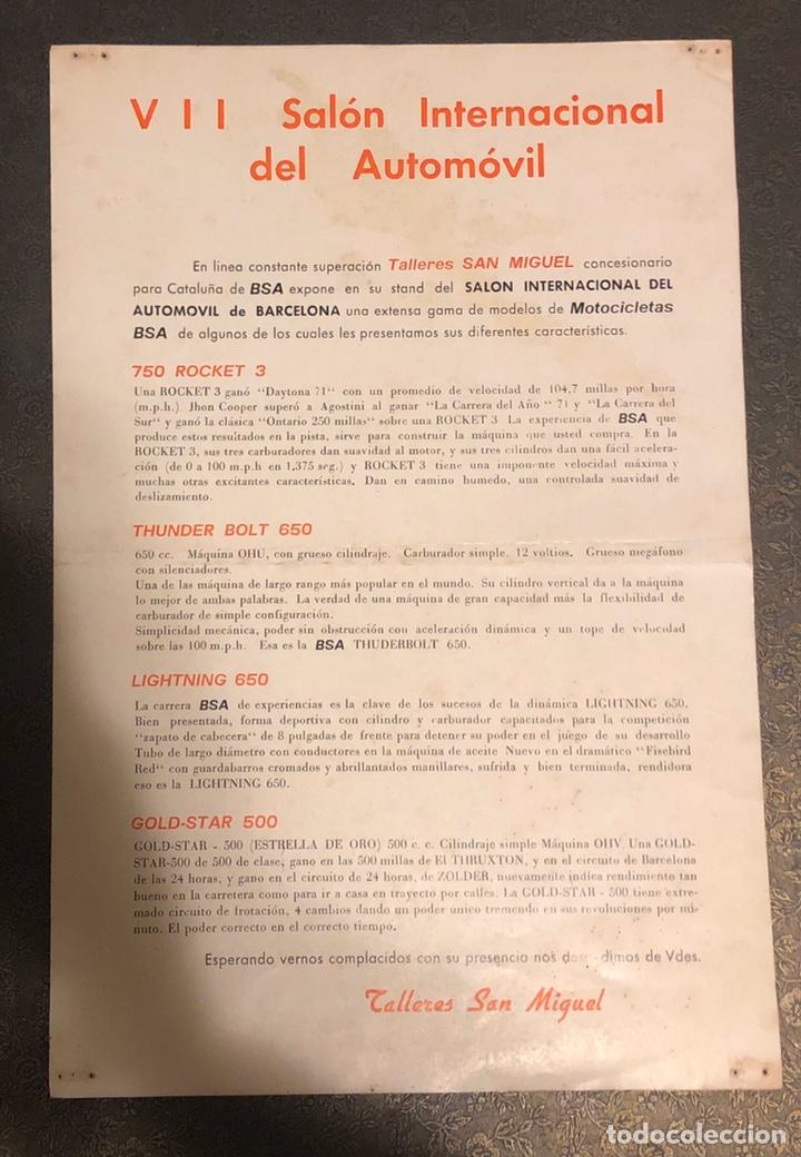 Motos: Publicidad de motos BSA, por parte del distribuidor oficial, talleres SAN Miguel. - Foto 2 - 195233597