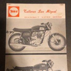 Motos: PUBLICIDAD DE MOTOS BSA, POR PARTE DEL DISTRIBUIDOR OFICIAL, TALLERES SAN MIGUEL.. Lote 195233597