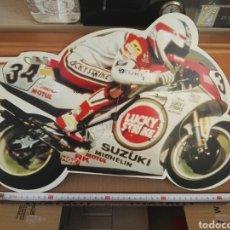 Motos: RELOJ PARED, MOTO KEVIN SWANTZ DE 1993 CON PUBLICIDAD DE LUCKY EN SUZUKI RGV500. Lote 210114521