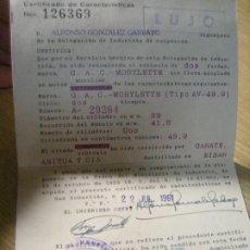 Motos: CERTIFICADO DE CARACTERISTICAS MOBYLETTE CARNET .1961 . DELEGACION INDUSTRIA GUIPUZCOA MOTO. Lote 219082306