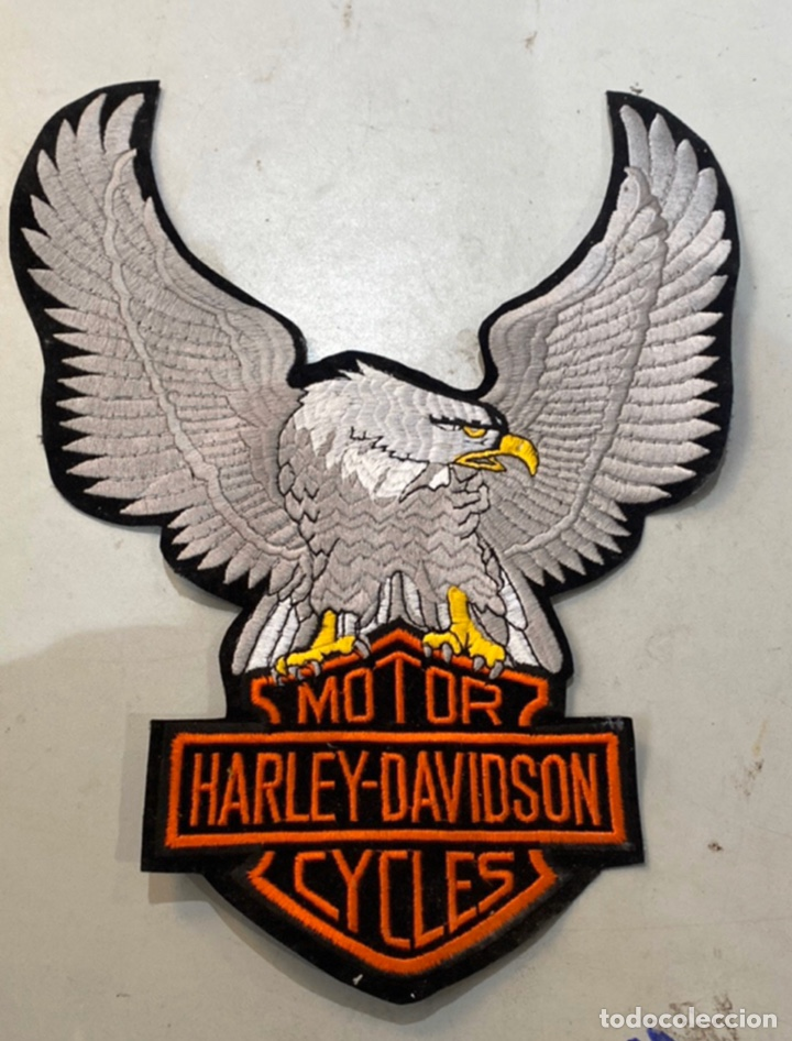 PARCHE MOTOR HARLEY DAVIDSON CICLES ÁGUILA BORDADA MIDE 35X25 (Coches y Motocicletas - Motocicletas Clásicas (a partir 1.940))