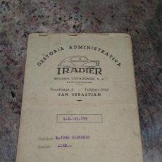 Motos: ANTIGUA DOCUMENTACION GUZZI / SS 13775 / AÑO 1953 / GESTORIA IRADIER SAN SEBASTIAN. Lote 254711180