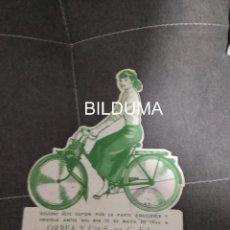 Motos: ANTIGUA PUBLICIDAD DE VELOSOLEX ORBEA EIBAR 1956 CON CUPON SORTEO DE CORREDORES CICLISTAS. Lote 260603610