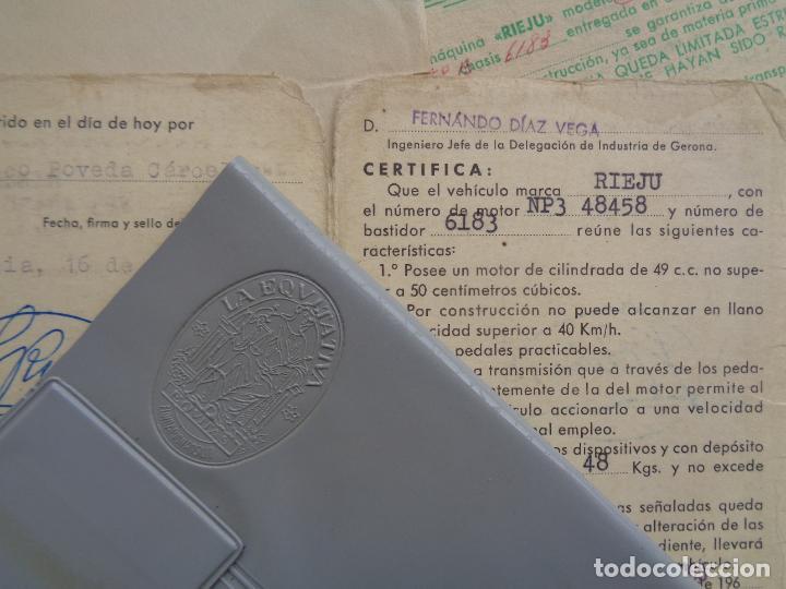 Motos: DOCUMENTACIÓN, FACTURA Y GARANTÍA DE MOTO RIEJU 49 CC. AÑO 1965 - Foto 3 - 267488694