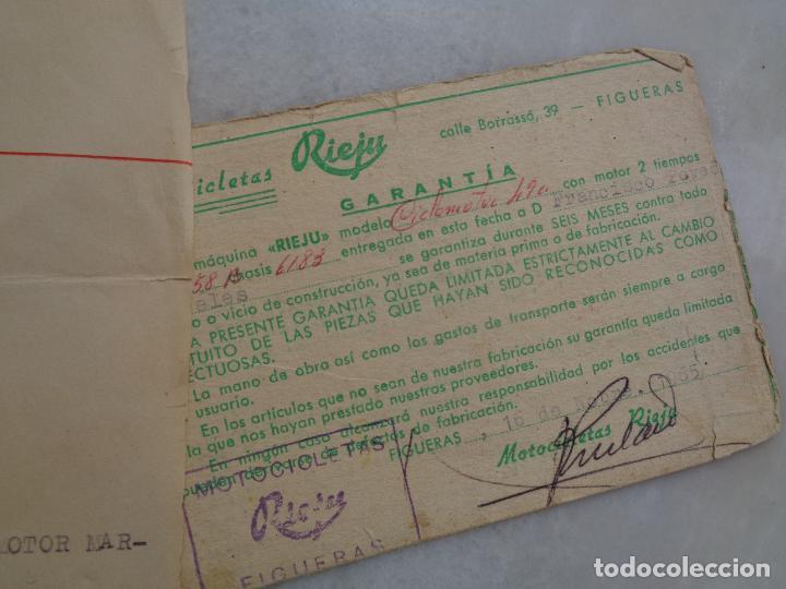 DOCUMENTACIÓN, FACTURA Y GARANTÍA DE MOTO RIEJU 49 CC. AÑO 1965 (Coches y Motocicletas - Motocicletas Clásicas (a partir 1.940))