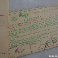 Motos: DOCUMENTACIÓN, FACTURA Y GARANTÍA DE MOTO RIEJU 49 CC. AÑO 1965. Lote 267488694