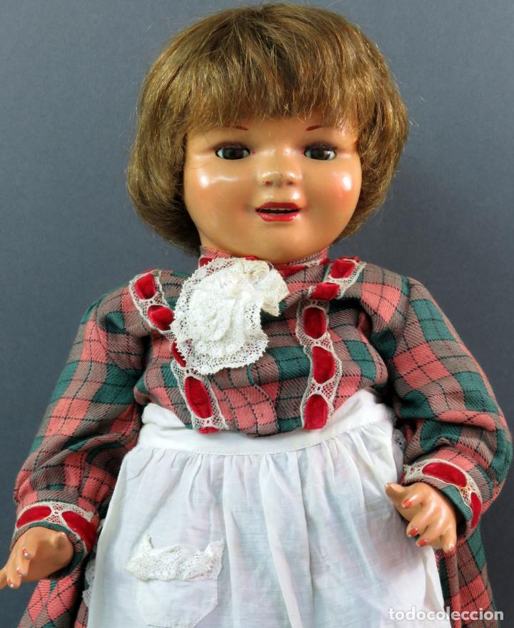 Muñeca Cayetana: Cayetana andadora muñeca cartón piedra ojo durmiente pelo natural años 40 - 50 43 cm - Foto 2 - 142434626