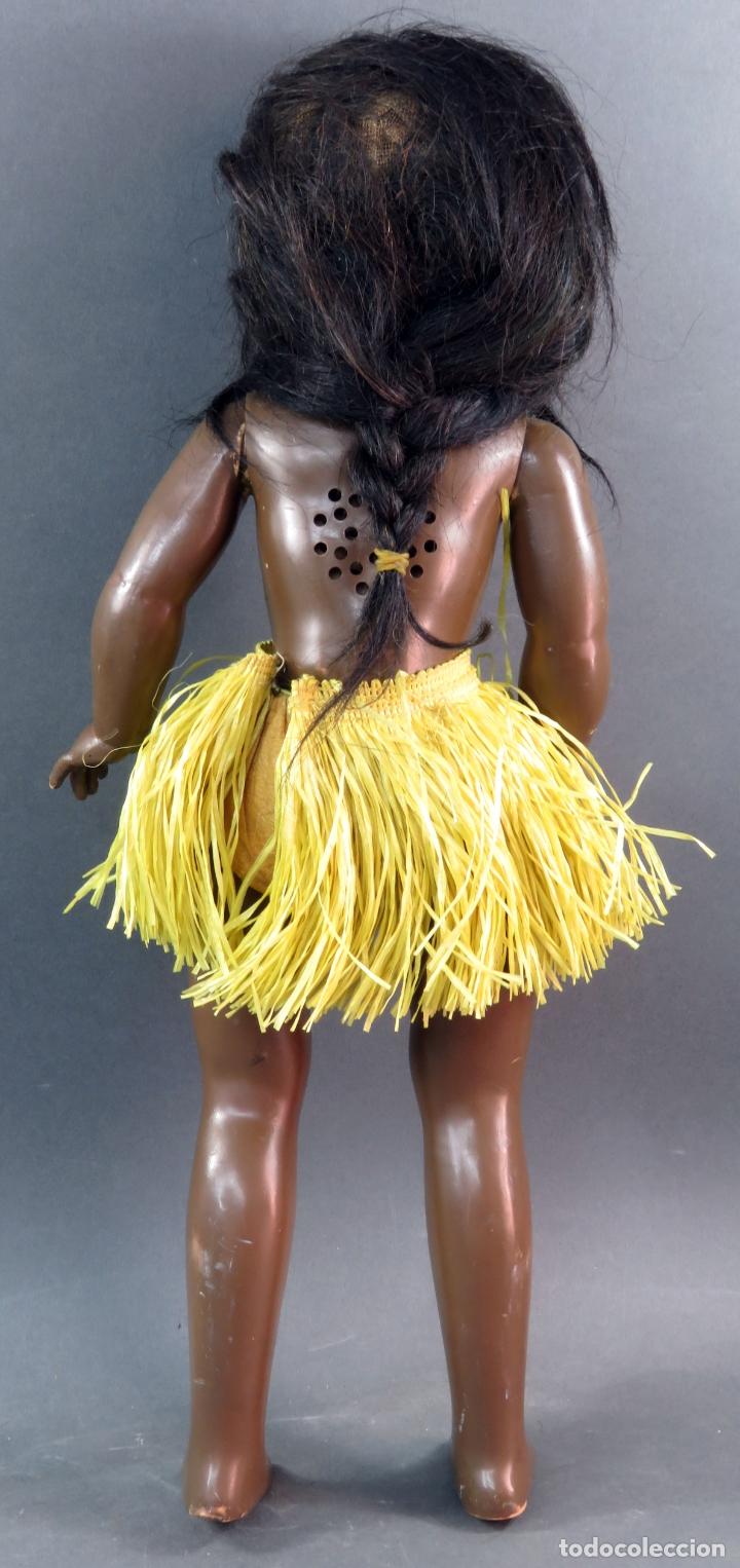 Muñeca Cayetana: Cayetana negra hawaiana Diana celuloide ojo durmiente flirty eyes años 50 45 cm alto - Foto 5 - 176754382