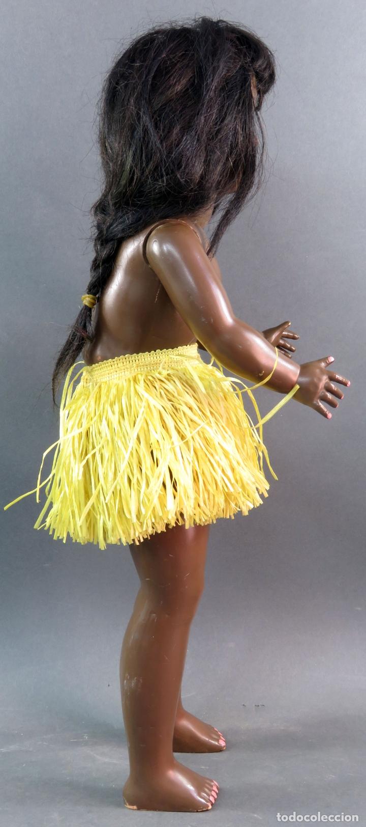 Muñeca Cayetana: Cayetana negra hawaiana Diana celuloide ojo durmiente flirty eyes años 50 45 cm alto - Foto 7 - 176754382