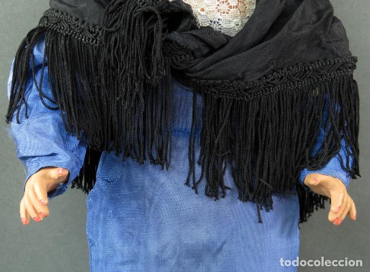 Muñeca Cayetana: Cayetana de Diana traje madrileña ojo flirty durmiente celuloide años 50 46 cm alto - Foto 3 - 181490691