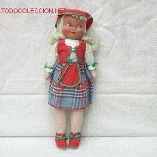 Muñeca española clasica: MUÑECA DE TRAPO CON CARA DE CELULOIDE WERLI AÑOS 50 30 CM ALTO. Lote 11178458