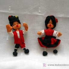Muñeca española clasica: PAREJA DE MUÑECOS FIELTRO, TRAJE REGIONAL GALLEGO AÑOS 50-60. Lote 7383241