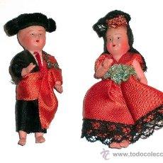 Muñeca española clasica: PAREJA MUY DETALLADOS MUÑEQUITOS REGIONALES 6 CMS, FABRICADOS EN CELULOIDE,AÑOS 50. EXCELENTE ESTADO. Lote 9981817