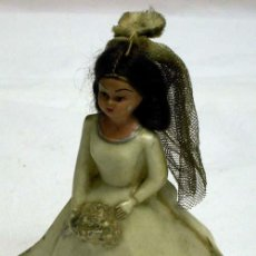 Muñeca española clasica: NOVIA MUÑECA CELULOIDE PLÁSTICO DURO DECORACIÓN TARTA BODA AÑOS 50. Lote 16401317
