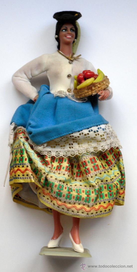 MUÑECA CON TRAJE TIPO DE CANARIAS (LAS PALMAS) - MUÑECAS MARIN (CHICLANA) - CON CAJA ORIGINAL (Juguetes - Otras Muñecas Españolas Clásicas (Hasta 1.960))