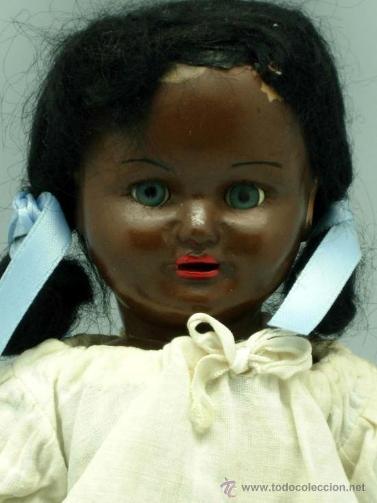 Muñeca española clasica: Muñeca negra celuloide ojo durmiente años 50 25 cm alto - Foto 2 - 20776084